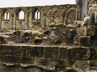 Fragment of old scottish, stone wall, the period of European history.