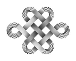 Endless knot made of crossed metal wires. Buddhist symbol. Vector illustration.
