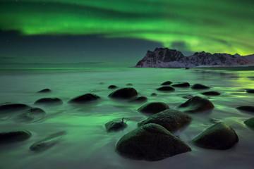 Aurora borealis over a beach on the Lofoten in Norway