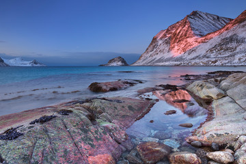 Wall Mural - Beach and mountains on the Lofoten in Norway in winter