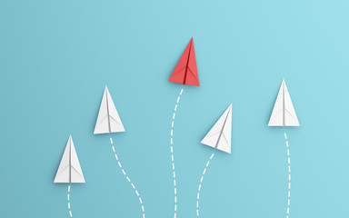leadership or different concept with red and white paper airplane path and route line on blue background. Digital craft in education or travel concept. Mock up design. 3d abstract illustration