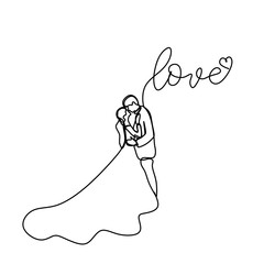 Continuous line drawing of romantic couple in weeding dress vector illustration with love text.