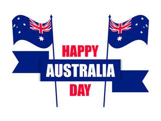 Happy Australia day 26th january. Greeting card with flag of Australia, national holiday. Vector illustration