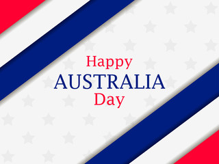 Happy Australia day 26th january. Greeting card with stripes and stars, national holiday. Vector illustration