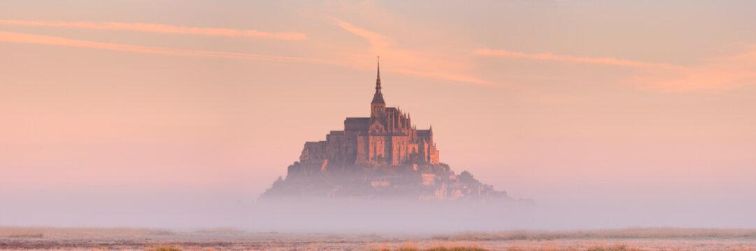 Le Mont Saint Michel in Normandy, France at sunrise