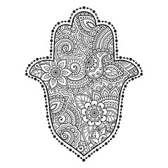 """Hamsa hand drawn symbol with flower. Decorative pattern in oriental style for interior decoration and henna drawings. The ancient sign of """"Hand of Fatima""""."""