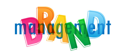 BRAND MANAGEMENT colorful typography banner