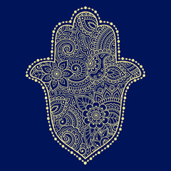 """Color Hamsa hand drawn symbol on flower ornament. Decorative pattern in oriental style for the interior decoration and henna drawings. The ancient sign of """"Hand of Fatima"""". Print on t-shirt."""