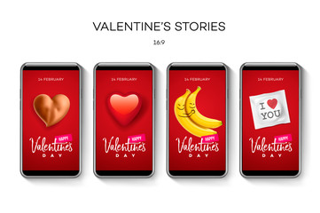 Valentine's day stories template. Streaming. Creative universal Editable set in trendy style with emoji smiley faces, icons, vector illustration.