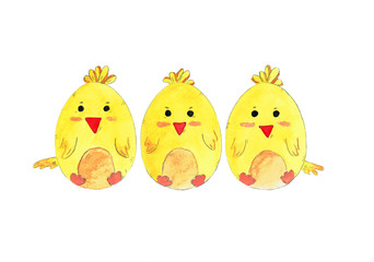 Hand drawn easter chicken. Set of watercolor illustration eggs for decoration, invitation card, postcard, greeting card. Cute little birds isolated on white background.