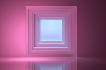 Abstract background with a pink tunnel in the wall with blue light. 3d illustration.