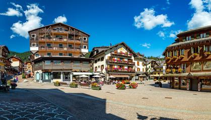 MADONNA DI CAMPIGLIO, ITALY-20 October 2018:Madonna di Campiglio's main square in the summertime, Madonna di Campiglia is the most famous ski resort in the Dolomites, Italy. Fototapete