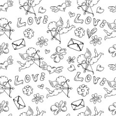Valentine day's hand drawn vintage monochrome doodles seamless pattern isolated