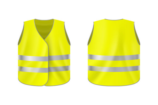 Realistic reflective vest, front and back view, safety jacket on plain background