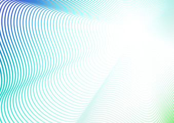 Wave design, background with flash effect. Turquoise, blue, green, white gradient. Futuristic line art pattern. Concept of perspective. Vector colored abstract composition. EPS10 illustration