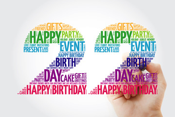 Happy 22nd birthday word cloud collage concept with marker