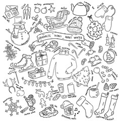 Christmas doodles objects. Winter favourites. Vector stickers illustration.