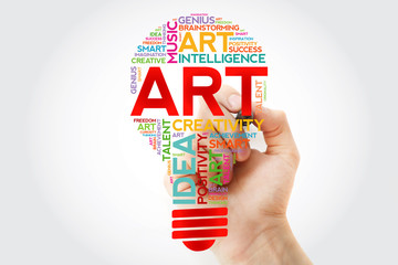 ART bulb word cloud with marker, creative concept