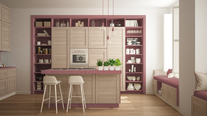 Modern red kitchen with wooden details in contemporary luxury apartment with parquet floor, vintage retro interior design, architecture open space living room concept idea