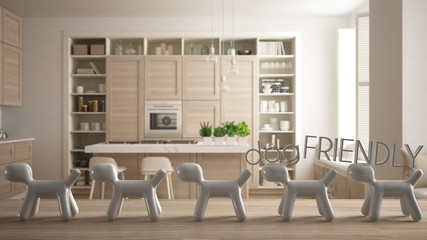 Wooden table top or shelf with line of stylized dogs, dog friendly concept, love for animals, animal dog proof home, modern white kitchen in contemporary flat, cool interior design