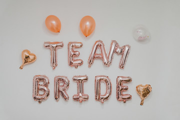 inscription on the wall - team Bride, bachelorette party