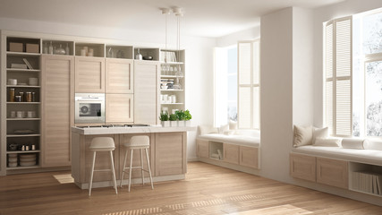 Modern white kitchen with wooden details in contemporary luxury apartment with parquet floor, vintage retro interior design, architecture open space living room concept idea