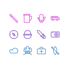 Vector illustration of 12 camp icons line style. Editable set of cloud, forest, bus and other icon elements.