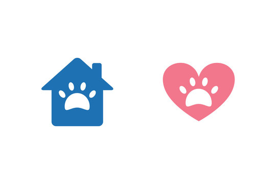 Pet shelter, care vector icons