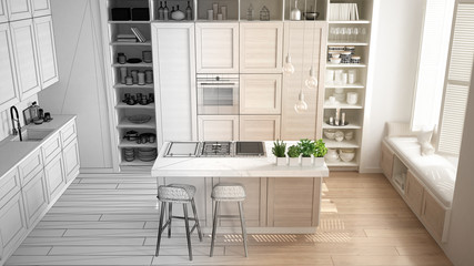 Architect interior designer concept: unfinished project that becomes real, kitchen with wooden details in contemporary apartment with parquet floor, minimalistic design idea, top view
