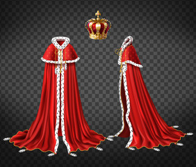 Kings royal robe with cape and mantle trimmed ermine fur and precious, gold crown decorated perls 3d realistic vector front, side view illustration isolated on transparent background. Monarch clothing
