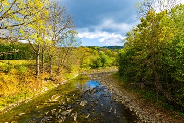 Beautiful mountain river in Bieszczady mountains