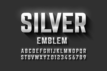 Silver emblem style font, metallic alphabet letters and numbers