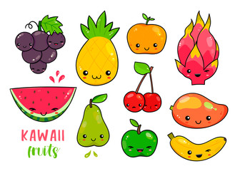 Hand drawn various kawaii fruits. Colored vector set. All elements are isolated