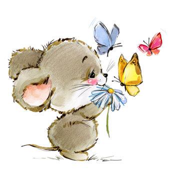 cartoon mouse watercolor illustration. cute mice.