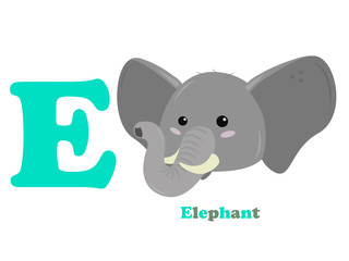 english children alphabet the letter e an elephant