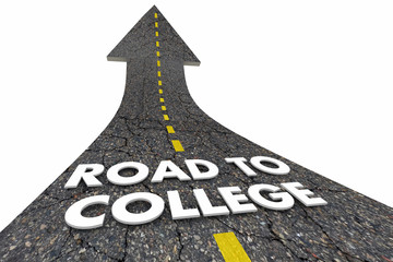 Road to College School Degree Words Arrow 3d Illustration