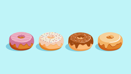 Donut vector set isolated on a blue background