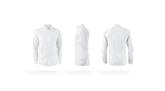 Blank white weared classic mens shirt with sleeve mockup set,
