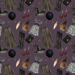 Watercolor Fashion Illustration. set of trendy accessories. Halloween,cape, dress, hat, boots, potions, magic ball, bag, broom, earrings,seamless pattern,black background