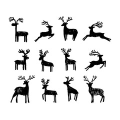 Hand drawn Christmas deer for winter and holiday illustrations.