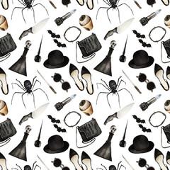 Watercolor Fashion Illustration. Halloween hat, ring, earrings, hair elastic, shoes, sunglasses, handbag, lipstick, eyeliner, knives, potion,spider,seamless pattern, light background