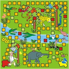 Board game, man and animals at tropic landscape