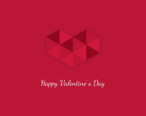 Valentine's day design with low poly heart