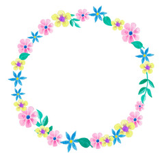 A wreath of watercolor flowers on a white background. Raster blank for design. Cute children's drawing. Flower doodles.