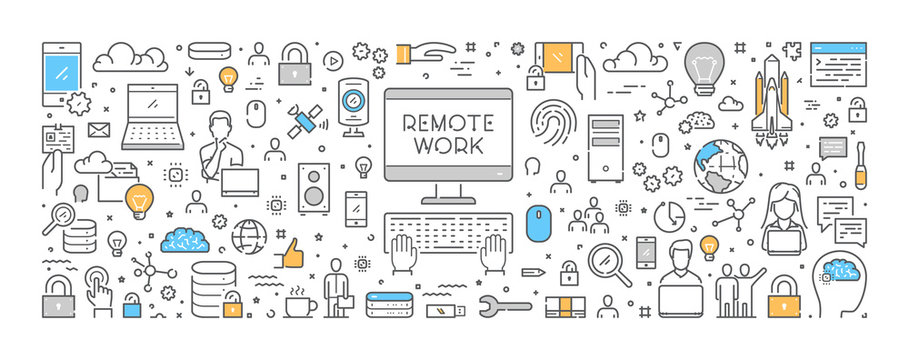 Vector line design concept for remote work. Creative style banner for freelance.