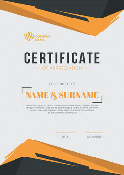 Certificate of Appreciation template. Trendy geometric design. Eps10 vector.