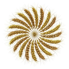 3D illustration of a golden wreath made of wheat spikelets. Design element. 3d render
