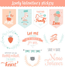 Collection of Valentines day gift tags, stickers and labels templates. Romantic and beauty posters set. Lovely card for Valentine's day, wedding, marriage, save the date, bridal. Vector illustration