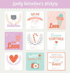 Set of 9 square Valentines day gift tags, stickers and labels templates. Romantic and beauty posters set. Lovely card for Valentine's day, wedding, marriage, save the date, bridal. Vector illustration