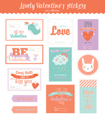 Collection of Valentines day gift tags, stickers and labels templates and modern lovely holidays elements with romantic phrase in vector. Valentine's day, wedding, marriage, save the date, bridal.